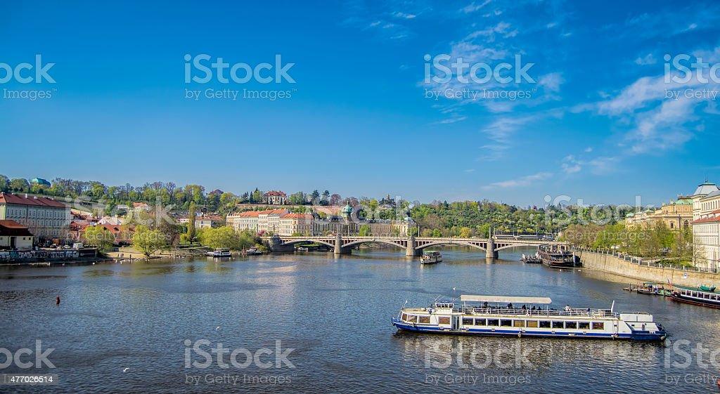 Vltava river in Prague stock photo