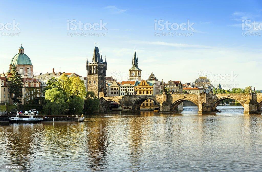 Vltava River with Charles Bridge in Prague, Czech Republic royalty-free stock photo