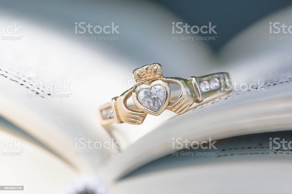 Vntage traditional Claddagh Ring stock photo