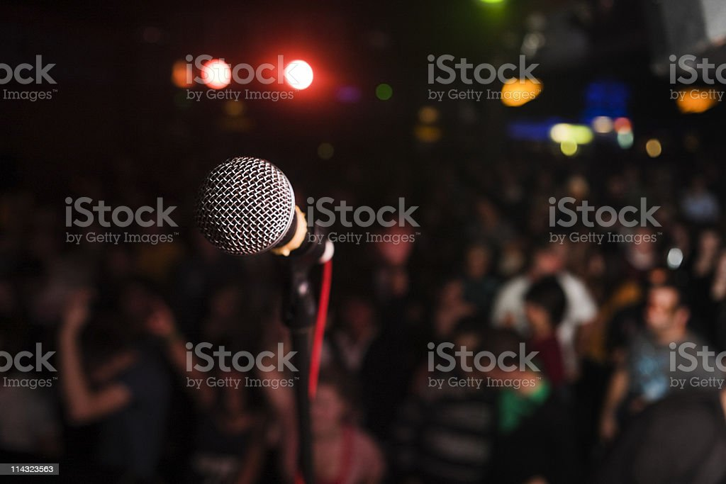 Vocal microphone at rock show stock photo