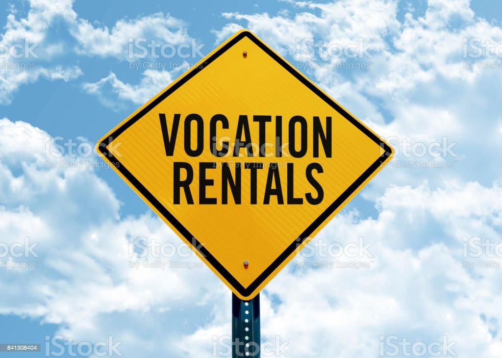 'vocation rental' traffic sign stock photo