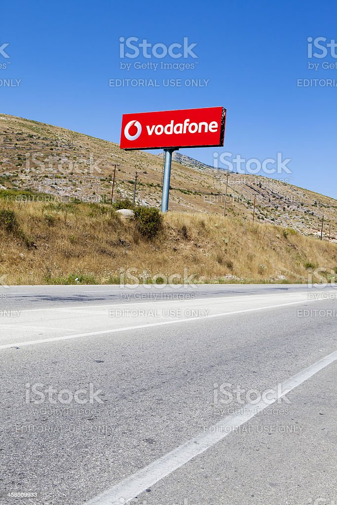 Vodafone sign in Albania stock photo