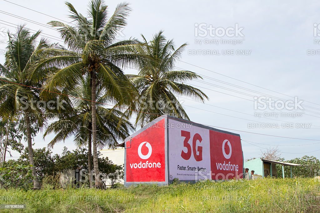 Vodafone signage, Karnataka, India stock photo