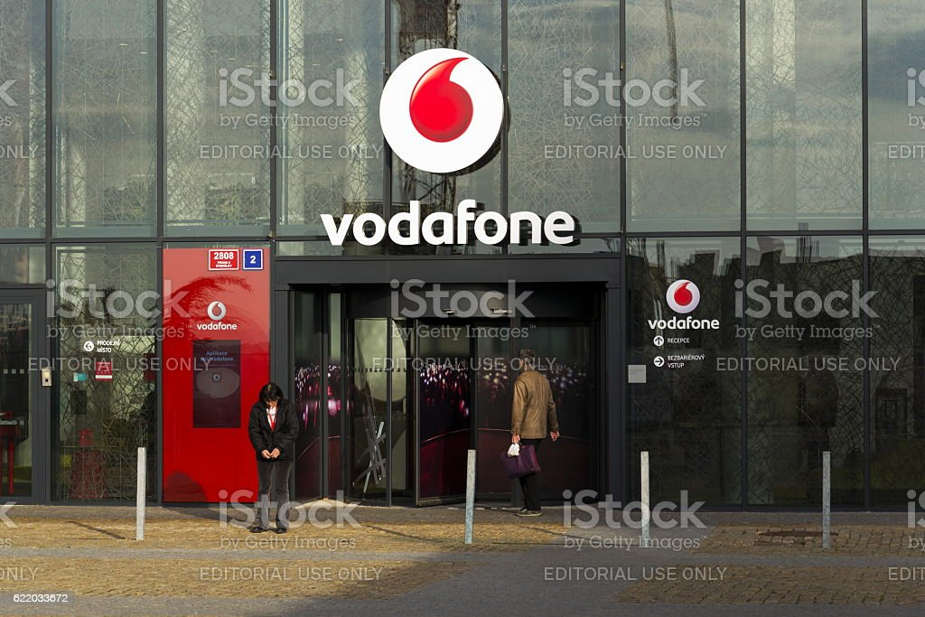 Vodafone telecommunications company logo on Czech headquarters stock photo