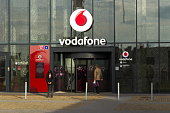 Vodafone telecommunications company logo on Czech headquarters