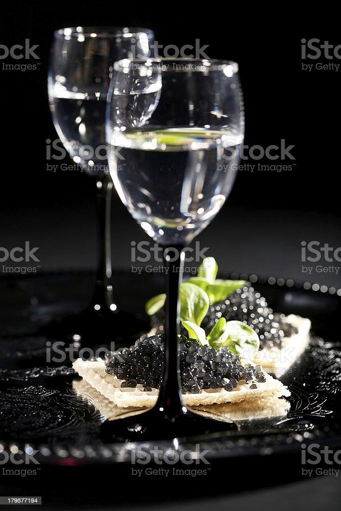 vodka and black caviar royalty-free stock photo