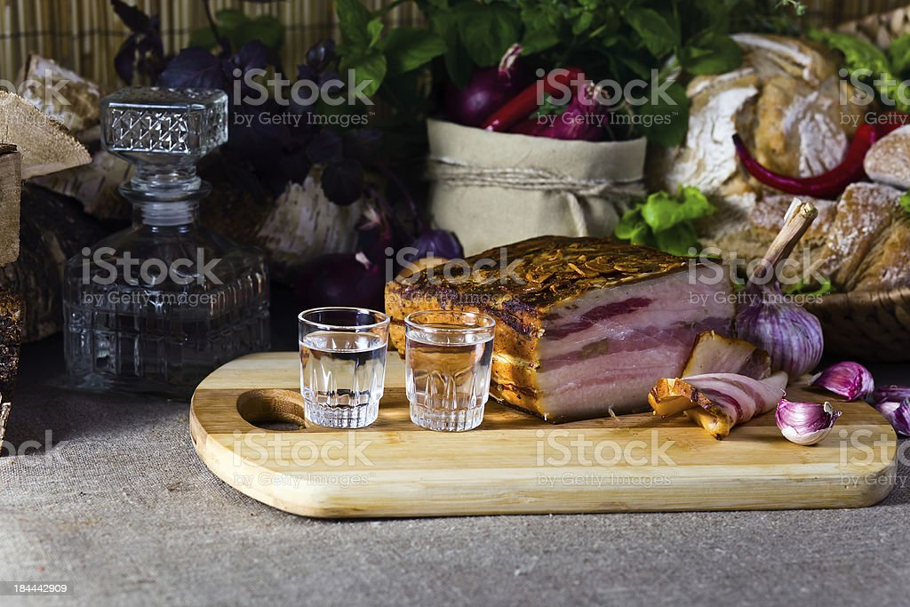 Vodka and smoked meat royalty-free stock photo