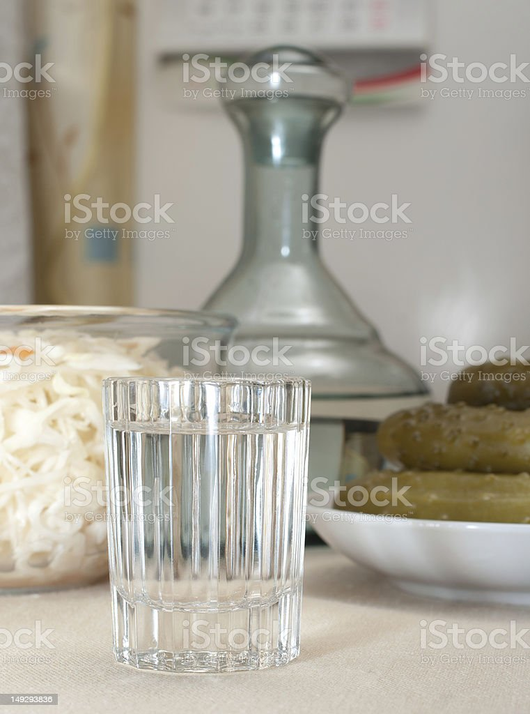 Vodka and snack. royalty-free stock photo