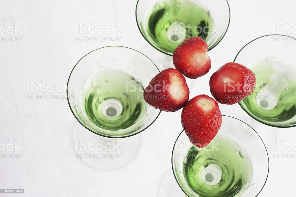 Vodka cocktail with strawberry stock photo