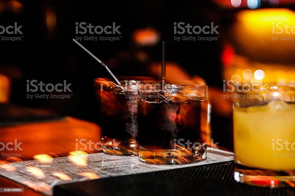 Vodka coke on the bar stock photo
