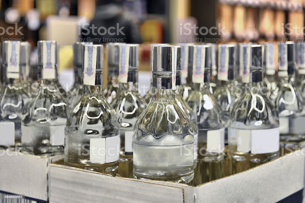 Vodka in a cardboard box stock photo