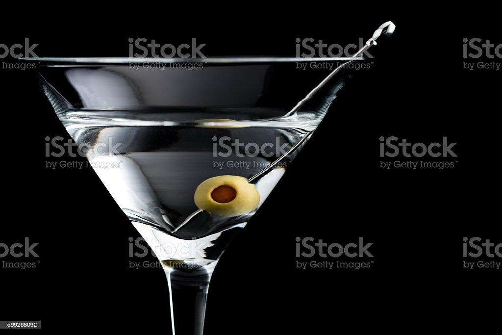 Vodka martin cocktails on black background stock photo