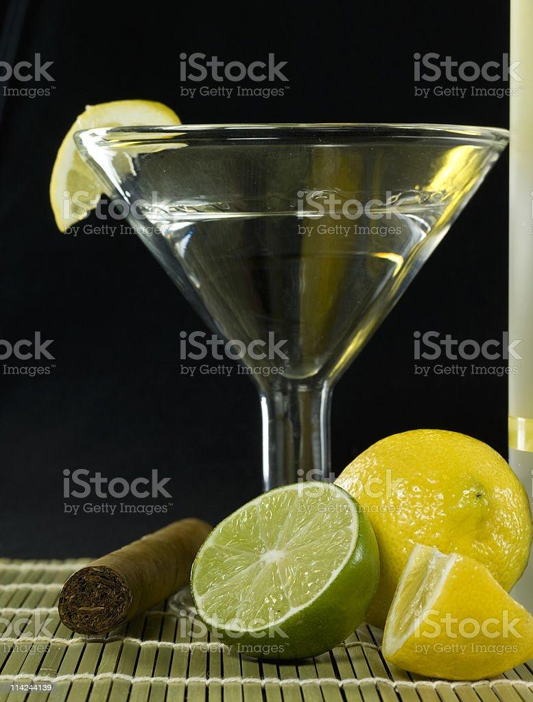 Vodka Martini and a cigar royalty-free stock photo