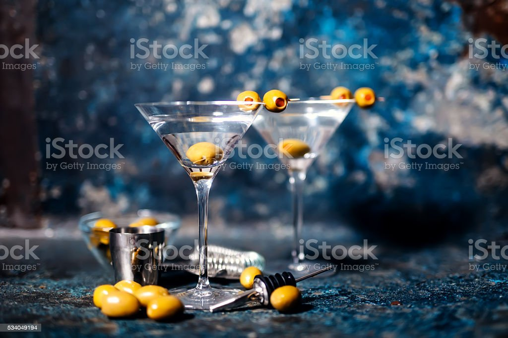 Vodka Martini with olive garnish. Long drink alcoholic cocktail. stock photo