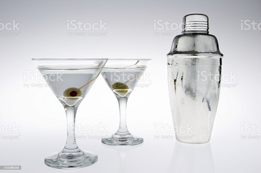 Wodka Martinis und Cocktail-Shaker Lizenzfreies stock-foto