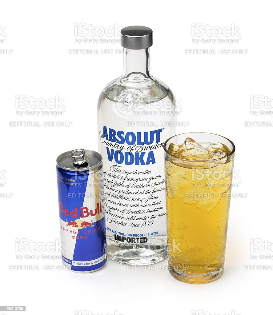 Vodka Red Bull with mix stock photo
