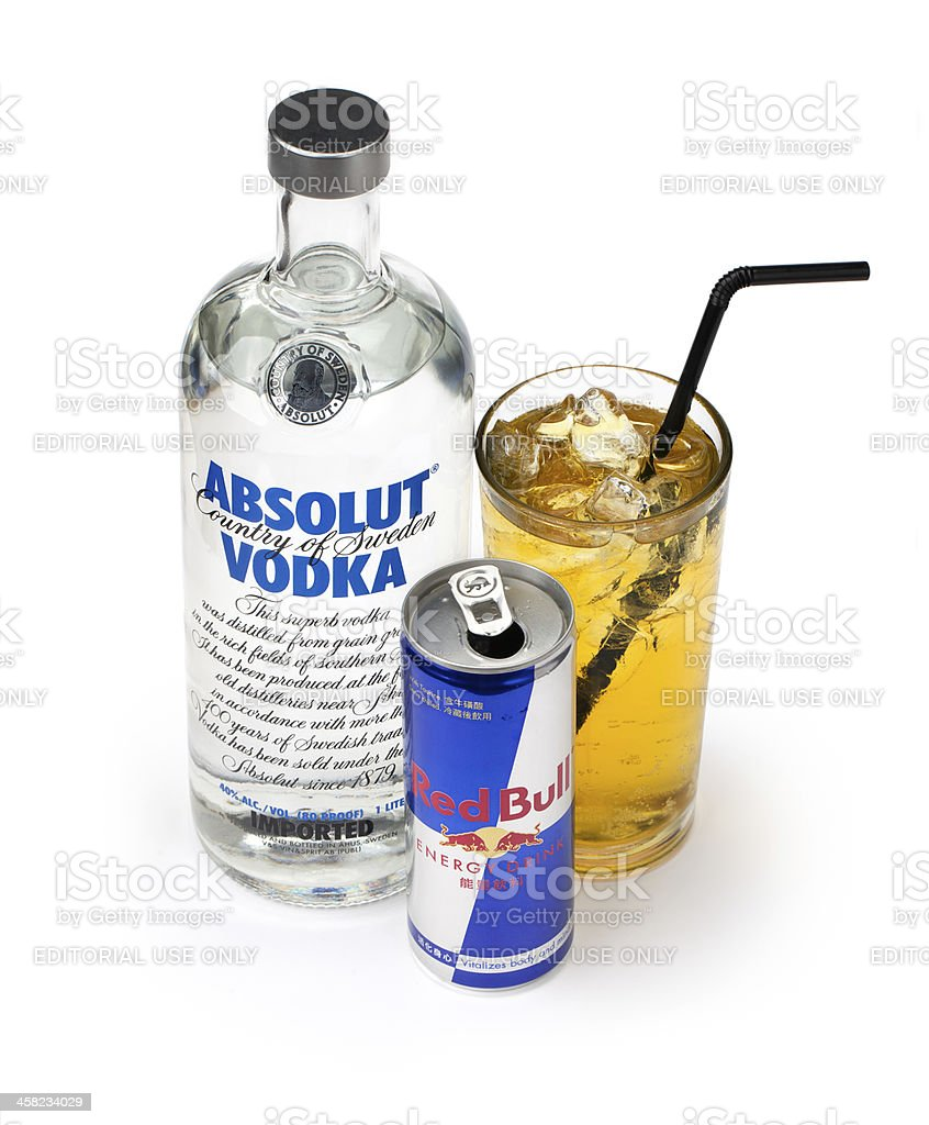 Vodka Redbull and mix stock photo