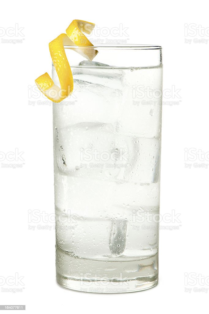 Vodka Tonic or Soda Isolated on White Background stock photo