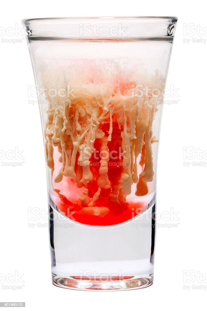 vodka with protein and syrup - the 'brain tumor' stock photo