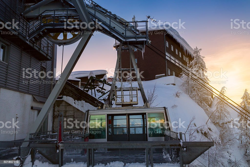 Vogel ski center in the mountains a lot of snow stock photo