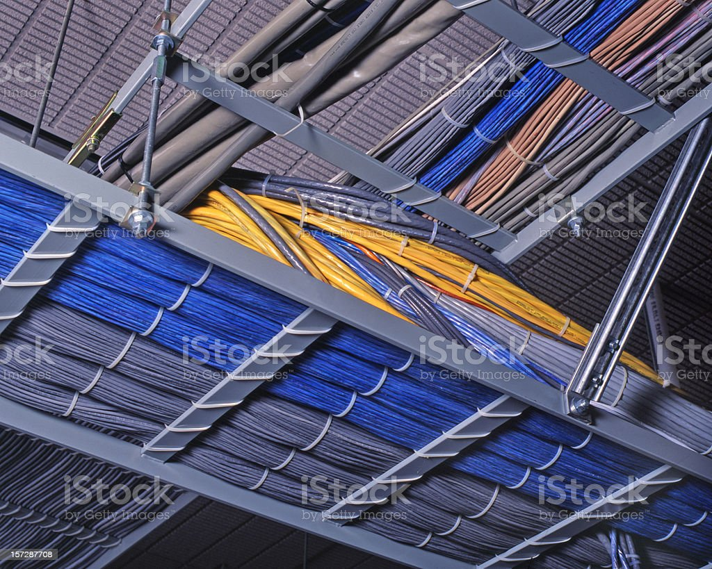 Voice and data cabling stock photo