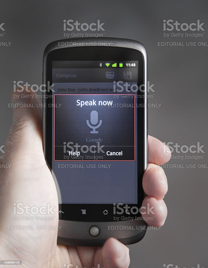 Voice Input On An Android Phone stock photo