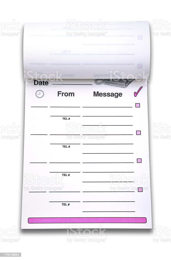 Voice Mail memo pad (Clipping path) royalty-free stock photo