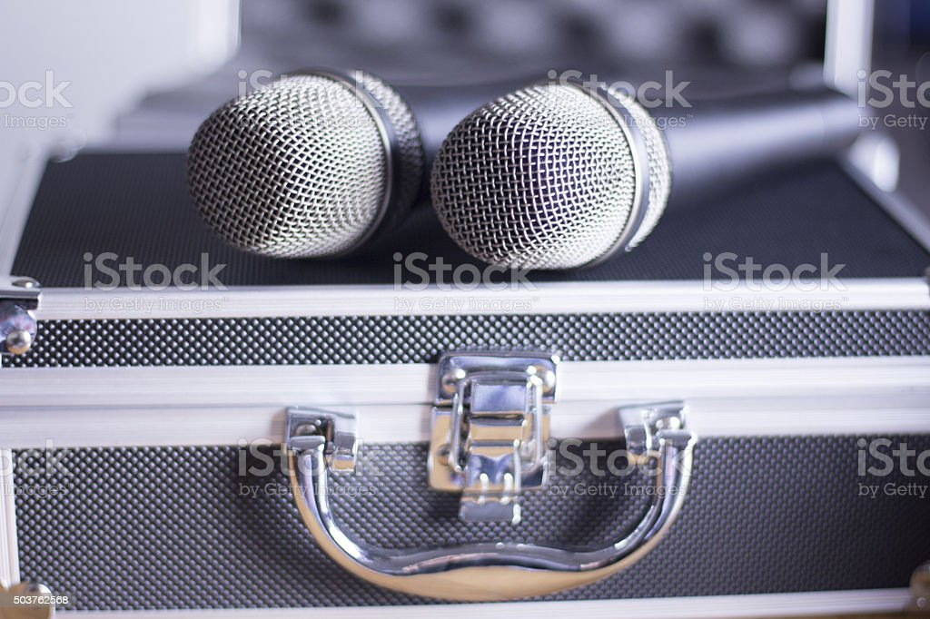 Voice microphones and carry case stock photo