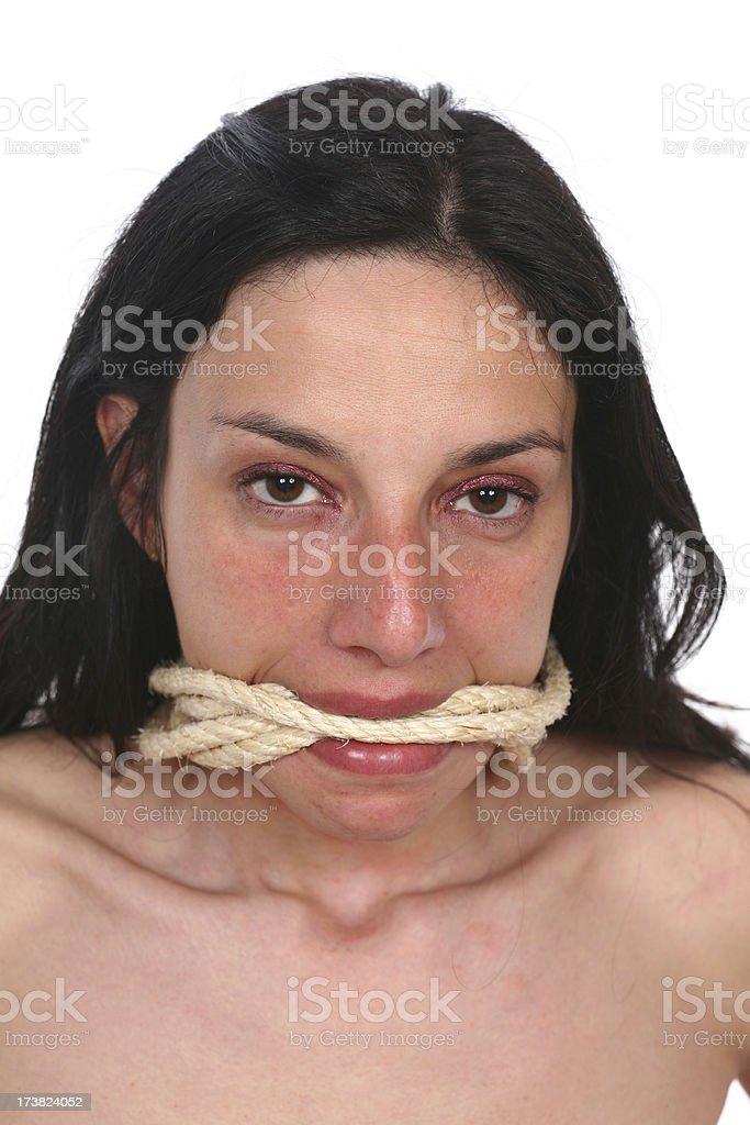 Voiceless woman royalty-free stock photo