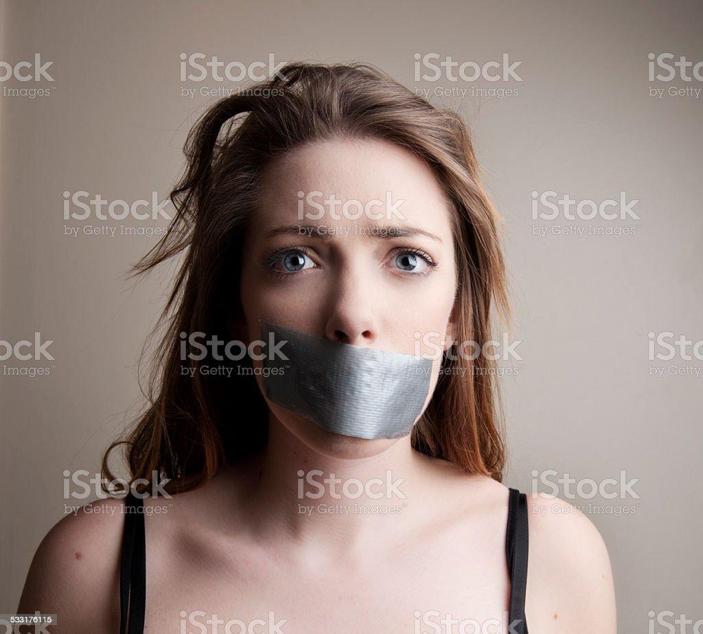 Voiceless Woman stock photo