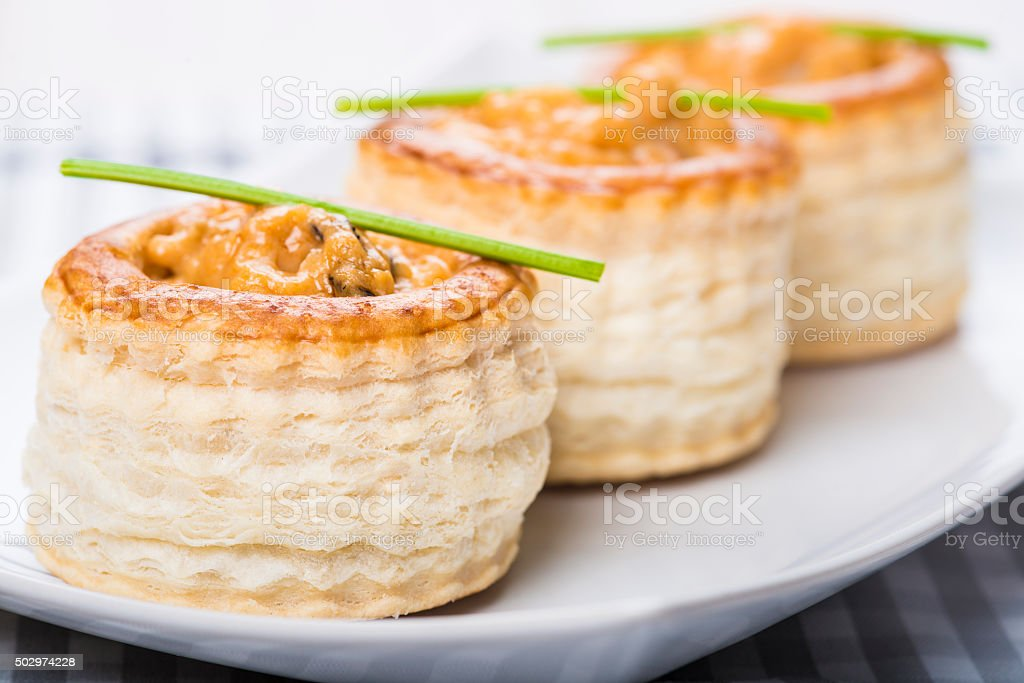 vol au vent stuffed with seafood cream stock photo