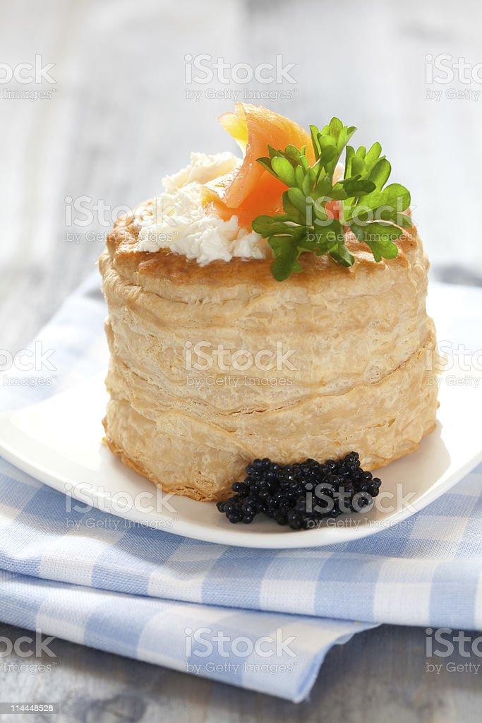vol au vent with caviar stock photo