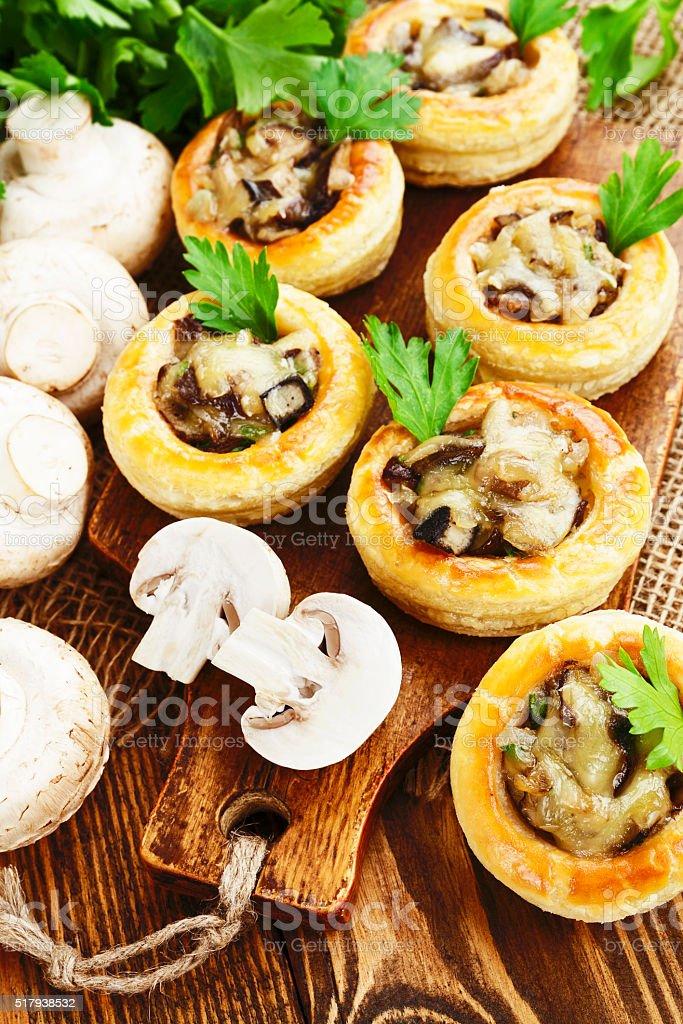 Vol au vent with mushroom stuffing stock photo