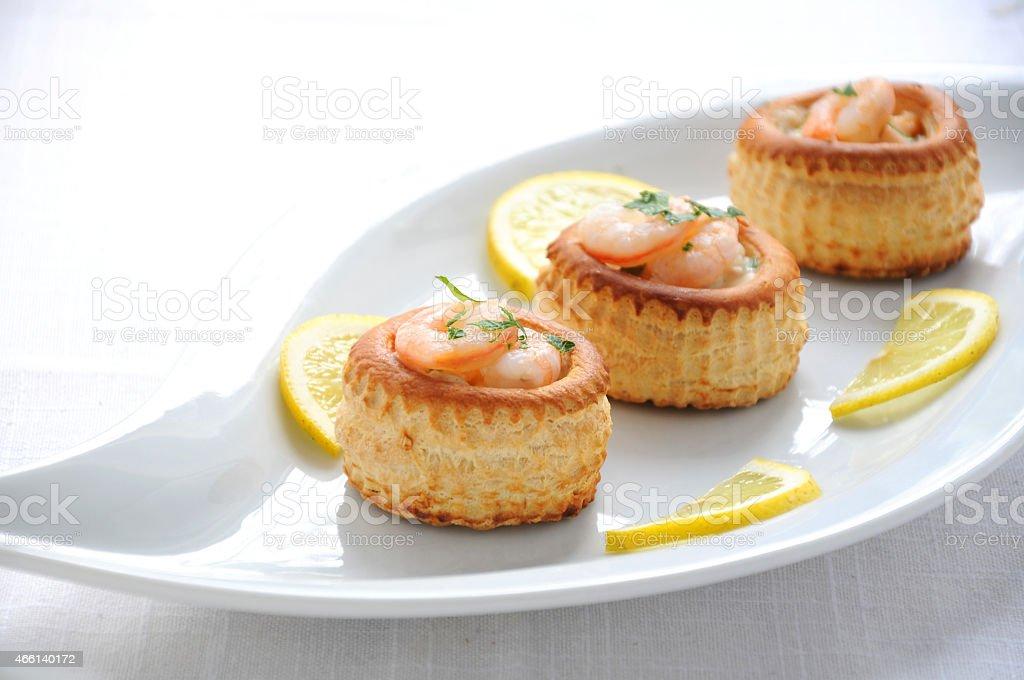 vol au vent with prawns salmon stock photo