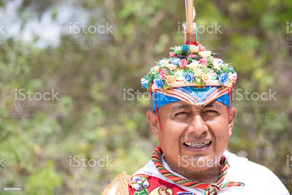 Voladores performing flying men show. stock photo
