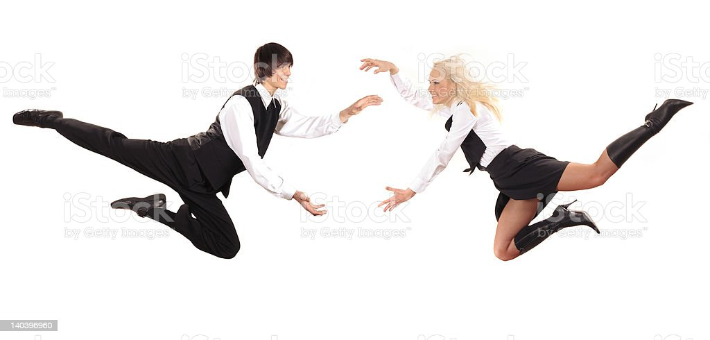 volant businessman and businesslady royalty-free stock photo
