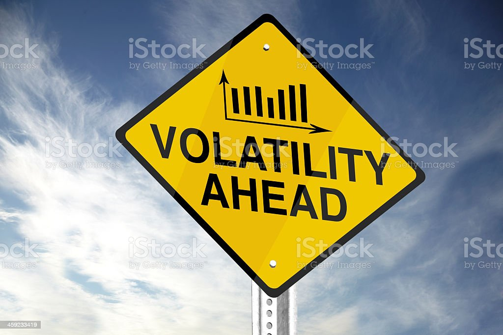 Volatility ahead sign in yellow and black stock photo