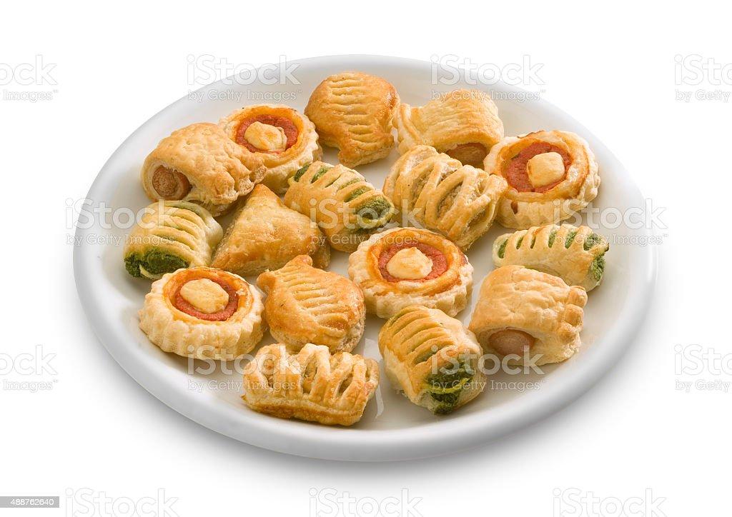 Vol-au.vent, pizzette, appetizers stock photo