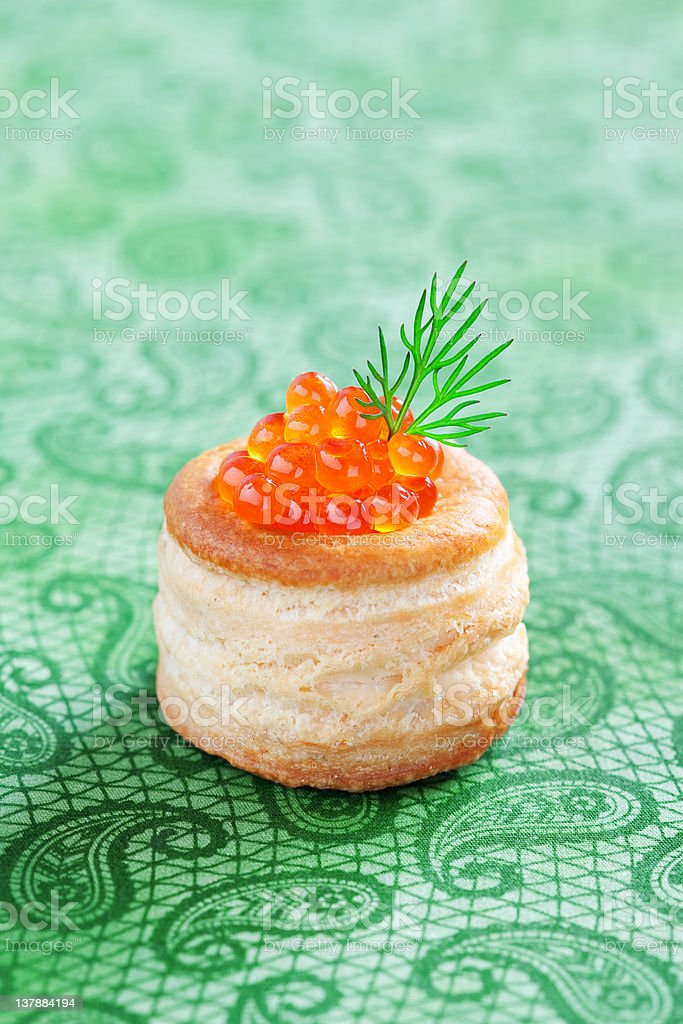 Vol-au-vent with caviar stock photo