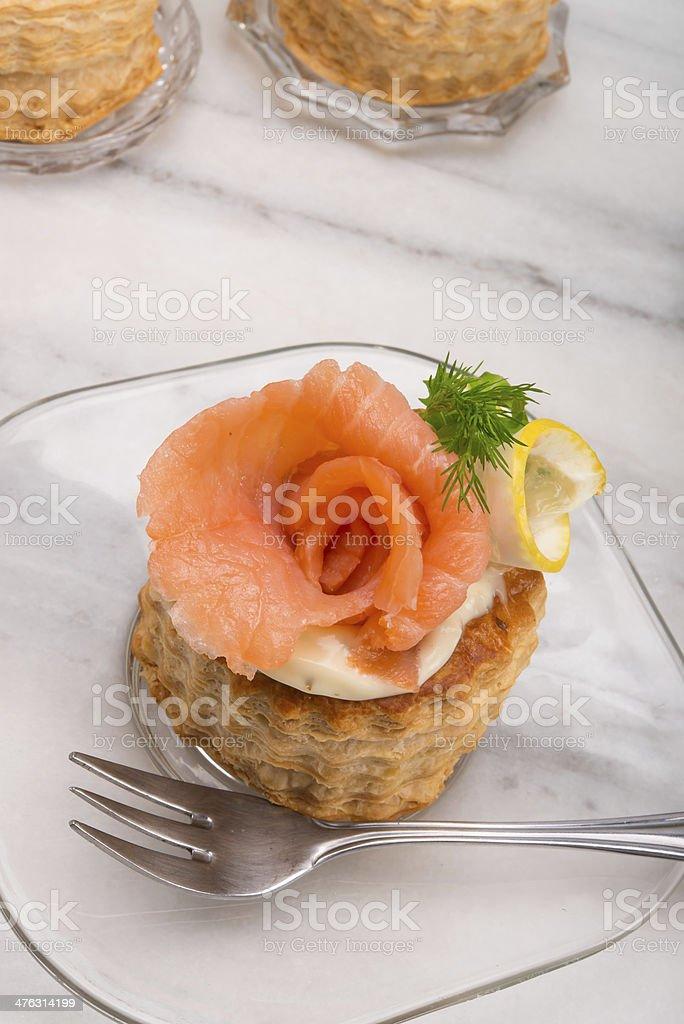 Vol-au-vent with salmon stock photo