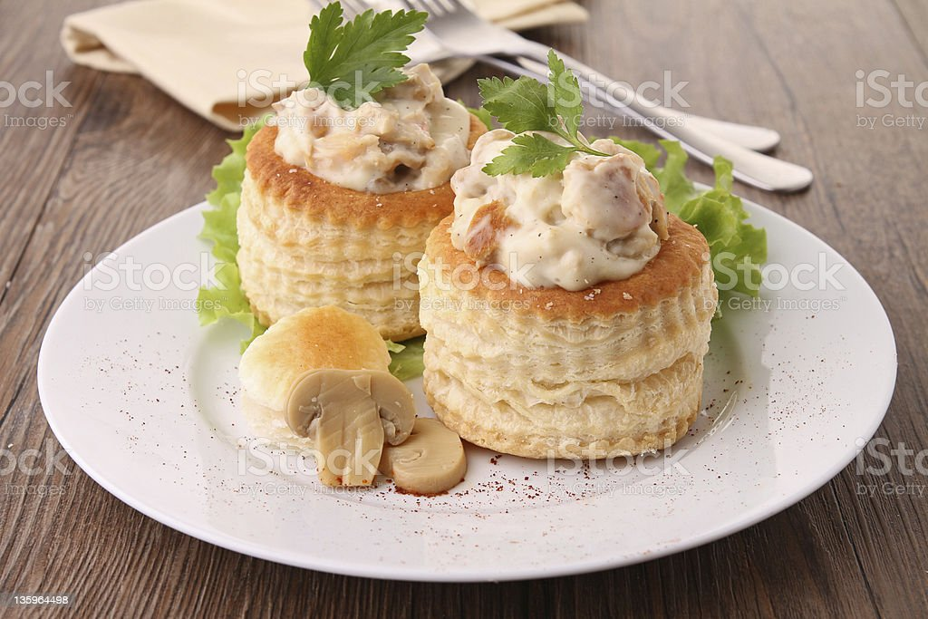 2 vol-au-vents filled with mushroom and chicken stock photo