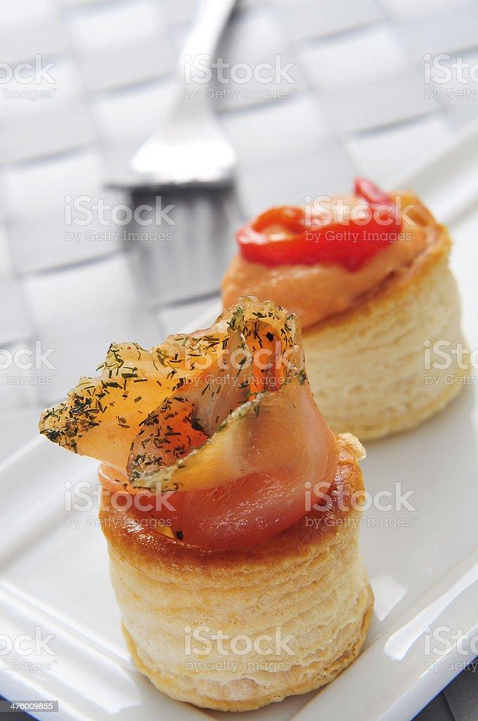 volauvents served as appetizer stock photo