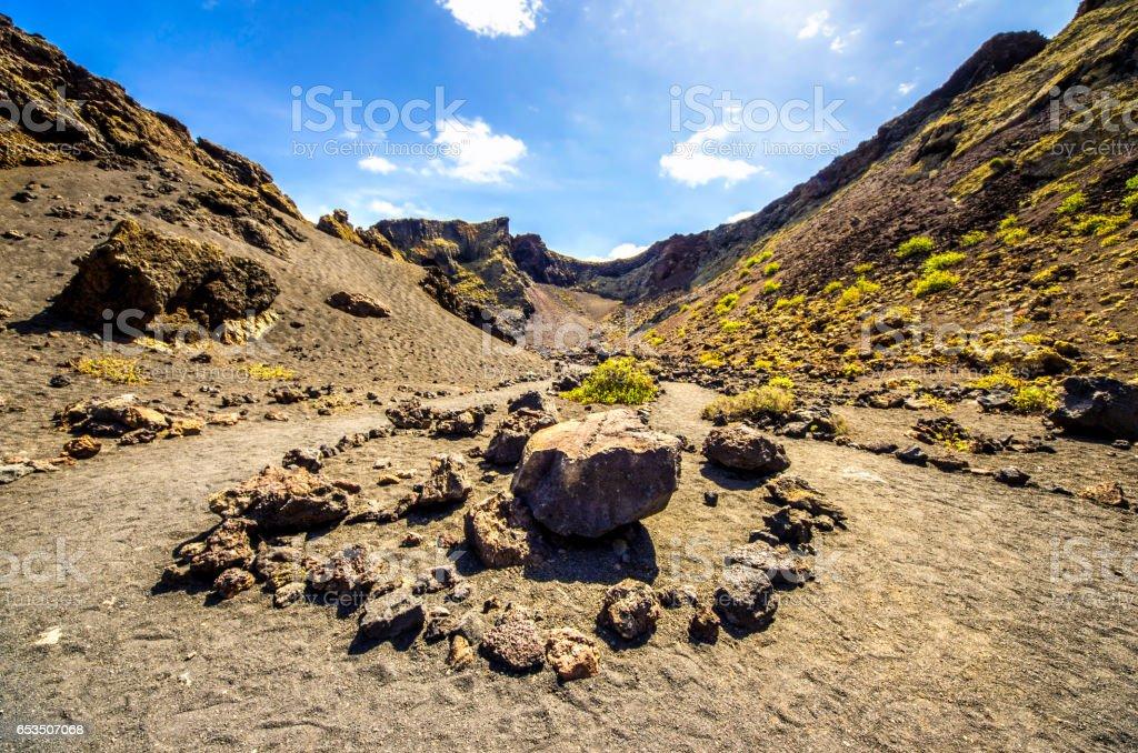 Volcan el cuervo lanzarote day canary islands stock photo
