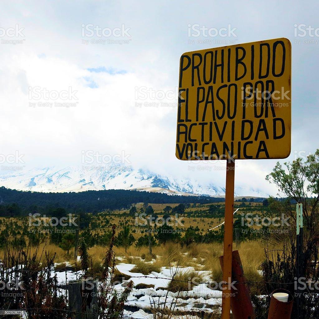 Volcanic activity warning sign at Popocatepetl, Mexico stock photo