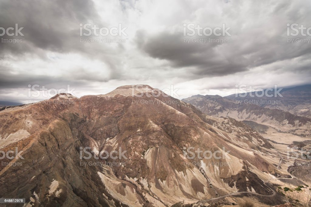 Volcanic ash covering the Peruvian Canyon. On the road to Omate. stock photo
