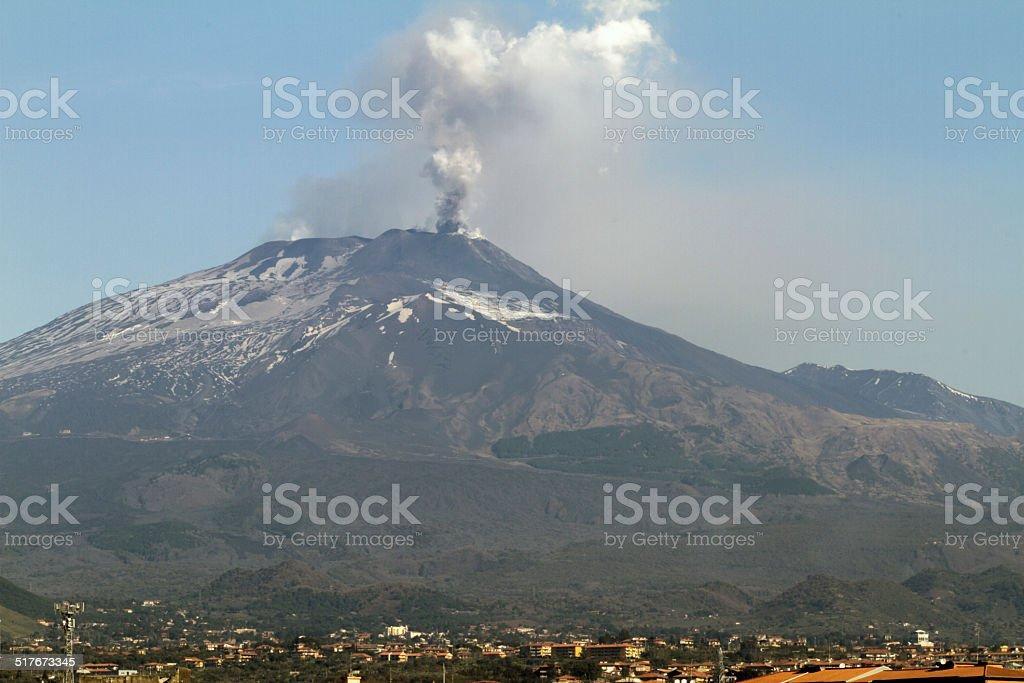 Volcanic ash emission stock photo