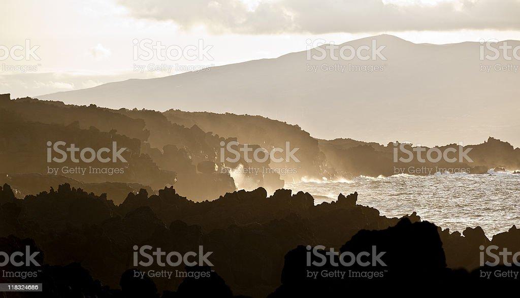 Volcanic Beach Scene, Pico Island, Azores stock photo