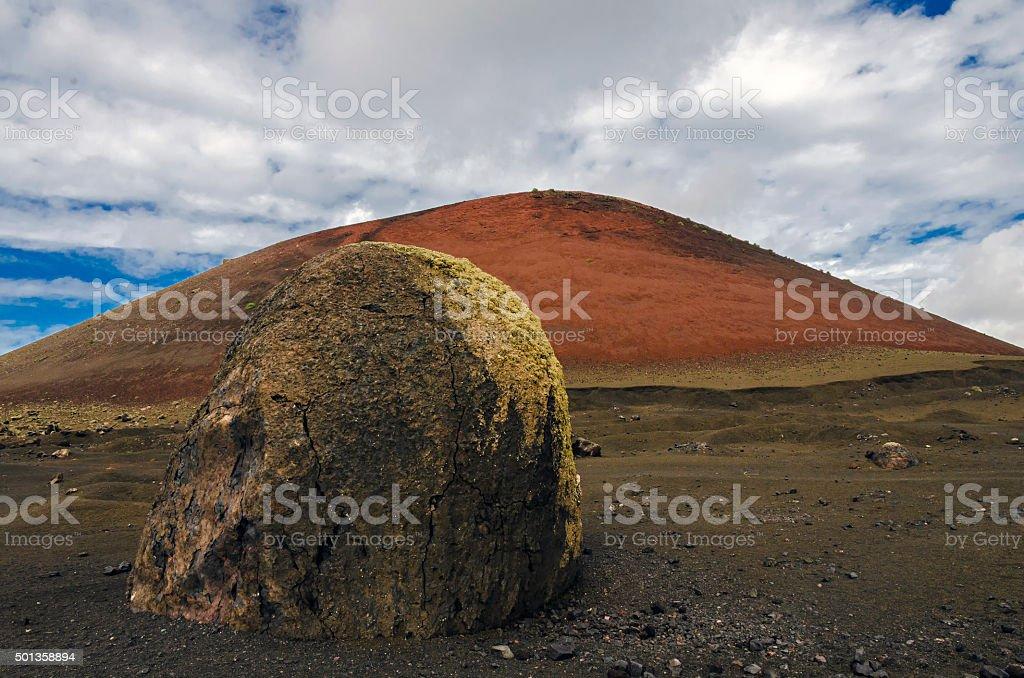 Volcanic bomb on Lanzarote stock photo