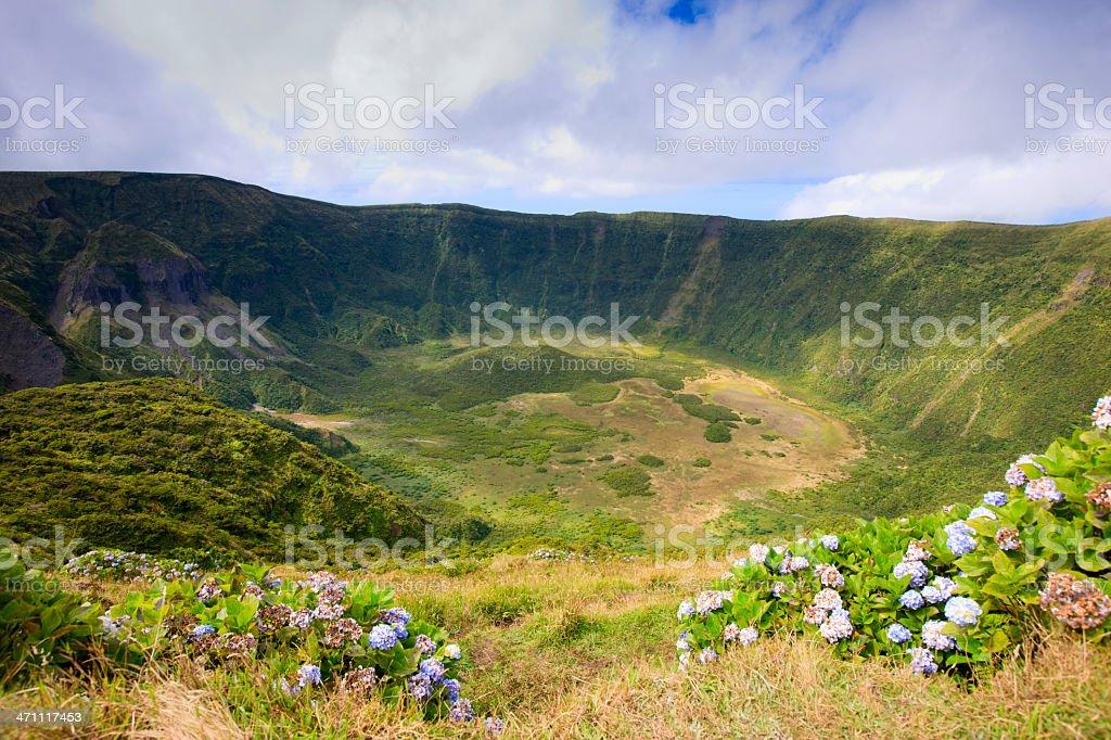 Volcanic Crater Caldera Cabeco Gordo Faial Azores royalty-free stock photo