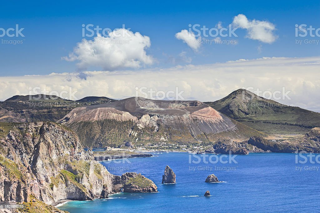 Volcanic crater. Isole Eolie, Sicily, Italy. stock photo